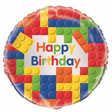 Happy Birthday Party Decoration Building Blocks Lego Helium Air Foil Balloon Boy