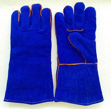 Grillhandschuhe BBQ Kaminhandschuhe Ofen feuerfeste Handschuhe Leder blau NEU