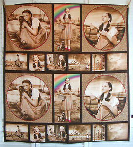 2 Panels WIZARD OF OZ Cotton Fabric DOROTHY Rainbow Slippers QUILTING TREASURES