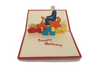 3d Popup Happy Birthday Man On Vespa Card