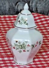 VTG HOLLOHAZA White Porcelain Small Box/Tureen w/Green Flowers/Gold Trim PREOWN