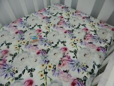 Floral Cot Sheet Fitted White Rose Pure Cotton Fits to 79x130cm mattress