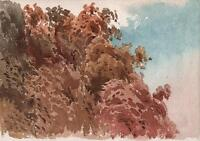 REVEREND LAURENCE GEORGE BOMFORD Watercolour Painting c1895 IMPRESSIONIST TREES