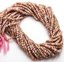 "NATURAL GEMSTONE PERUVIAN PINK OPAL 3MM MICRO FACETED RONDELLE BEADS 13"" STRAND"