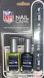 Seattle Seahawks Womens NFL 4-Piece Nail Care Set Decals File Polish NEW
