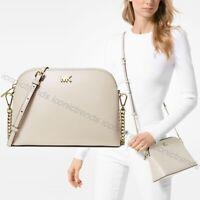 NWT 🌼 Michael Kors Leather Mott Large Zip Dome Crossbody Bag Light Sand Beige