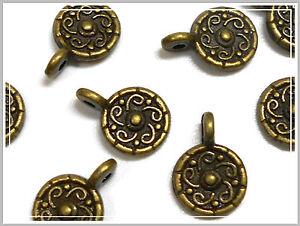 10 kleine Metallanhänger rund bronze 13*9mm Anhänger