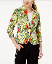NWT XOXO Ruched Sleeve Tropical Hawaiian Flowers Button Front Blazer Jacket S