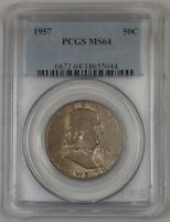 1957 Franklin Silver Half Dollar 50c Coin PCGS MS-64 Toned 1A