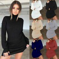 Femme Haut Cou Tricot Pull Mini Robe Slim Moulant Manches Longues Tricot Mode FR
