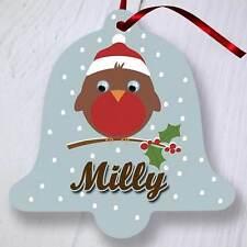ALBERO di Natale personalizzata Ornamento Decorazione-BELL-Marrone Robin