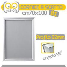 CORNICE A SCATTO B1 DA PARETE 32mm alluminio 70x100 cm apribili muro poster info