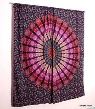 Ombre Mandala Indian Curtains Gold Wall Tapestry Window Curtain Valance 2 PC Set