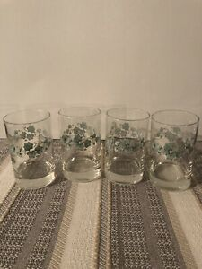 CORELLE CALLAWAY GREEN IVY 6 oz. JUICE GLASSES, SET of 4, CLEAN, CLEAR, EUC
