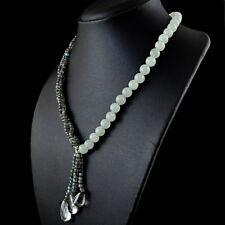 Real 254.50 Cts Natural Aquamarine & Blue Flash Labradorite Round Beads Necklace