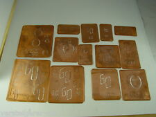 13 x GO Merkenthaler Monogramme, Kupfer Schablonen, Stencils, Patrons broder