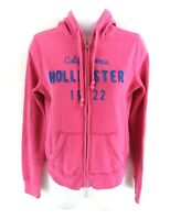 HOLLISTER Womens Hoodie Jacket S Small Pink Cotton & Polyester