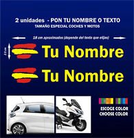 2 x BANDERA DE ESPAÑA CON NOMBRE - PERSONALIZABLES -VINILO-PEGATINA-MOTO-COCHE
