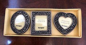 NEW Pier 1 Imports Set Of 3 Metallic Small Picture Frames Oval Heart Square