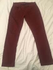Mens Red Maroon Cotton Jeans / Pants By ZARA Man - Size 30 Regular - Slim Fit