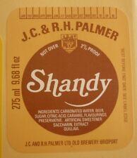 OLD BRITISH BEER LABEL, PALMER BREWERY BRIDPORT DORSET ENGLAND, SHANDY