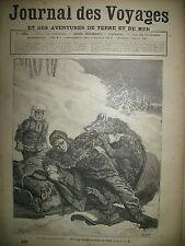 JOURNAL DES VOYAGES  N° 495 CANADA RIVIERE KKRAYIRA ATTAQUE DE LOUPS 1887