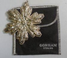 1974 Gorham Sterling Silver Snowflake Christmas Ornament W/ Original Bag