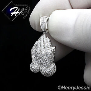 MEN WOMEN 925 STERLING SILVER ICY DIAMOND PRAYING HANDS CHARM PENDANT*SP114