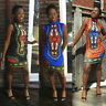 Women Casual Traditional African Print Turleneck Sleeveless Party Mini Dress