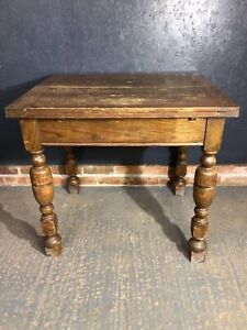Vntage Oak Extending Dining Table With Internal Cutlery Drawer