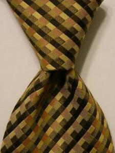 J. CREW Men's 100% Silk Necktie ITALY Designer CHECKS Green/Yellow/Pink EUC