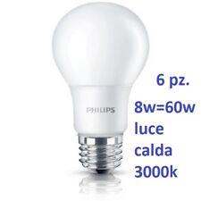 Set da 6 Lampadine LED Philips Goccia 8W - 60W E27 Luce Calda 3000k 806 lumen