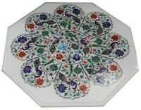 1.5' Marble Coffee Table Top Multi Mosaic Floral Inlay Living Room Decors W233