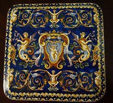 "HUGE 10""  Gien Fond Bleu TRIVET platter French Faience Italian Renaissance"
