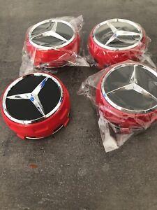 4x Mercedes-Benz AMG Nabendeckel Nabenkappen Felgendeckel 75mm Rot/Chrom NEU