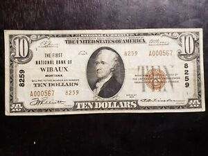 RARE Series of 1929 $10 National Currency First National Bank Wibaux, MT 8259