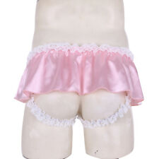 Sissy Men Satin Lace Crotchless Skirted Panties Jockstrap Briefs Underwear #M