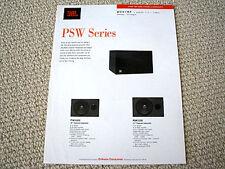 JBL PSW1000 / PSW1200 subwoofer speaker brochure