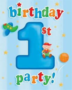 FUN AT ONE 1st  Birthday Party Boys Invitations for 8 Blue Party Invitations
