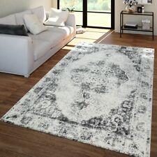 Vintage-Teppich Für Wohnzimmer, Kurzflor Mit Orient-Design, Meliert In Grau