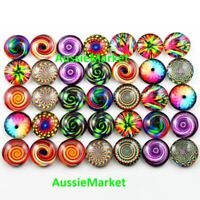 20 x cabochons glass dome colourful spiral pattern flat back round 12mm crafts