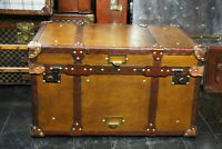 Tan Leather Coffee Table Chest Trunk with Antique leather Trim ZA01