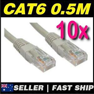 10x 50cm 0.5m Grey Beige Cat 6 Cat6 Premium RJ45 Ethernet Network LAN Cable