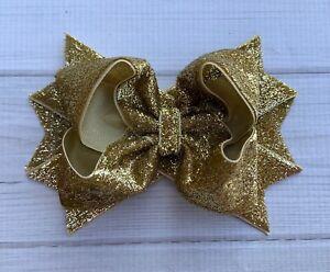 "5"" Handmade Gold Glitter Holiday Christmas Hair Bow"