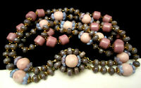 """Vintage 18""""x1-1/4"""" Signed Miriam Haskell Purple Pink Glass Bead Necklace A60"""