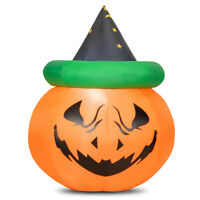 Costway 4 Ft Halloween Blow-up Inflatable Pumpkin W/Witch Hat LED Bulbs Yard