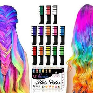 13 Colors Hair Chalk for Girls Gifts, Kids Temporary Bright Hair Chalk Comb