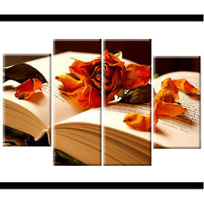 Orange Rose Floral Split Canvas Wall Art Pictures Wide XL Print Flower Gift xmas