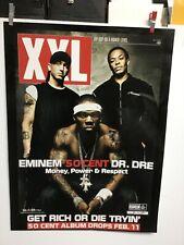 """EMINEM - 50 CENT - DR. DRE  """"Get Rich Or Die"""". Original promo poster"""