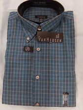 Men's 14 14 1/2 S/P VanHeusen Teal Broadcloth Button Down Long Sleeve Shirt NEW